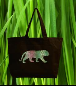 Premium Baumwoll Maxi Tasche schwarz mit Motiv Tiger - Handarbeit kaufen