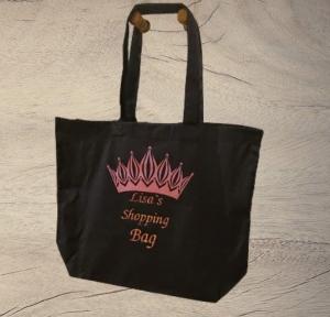 Premium Baumwoll Maxi Tasche blau Shopping Bag kann mit Namen Personalisiert werden - Handarbeit kaufen