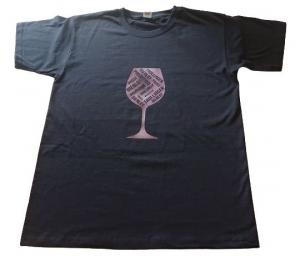 Baumwoll Damen T-Shirt in schwarz mit Weinglas aus Design Flex Folie veredelt  - Handarbeit kaufen