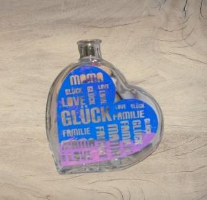 Beleuchtete Herz-Glasflasche mit Design Vinyl Folie Opal blau