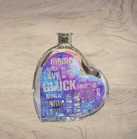 Beleuchtete Herz-Glasflasche mit Design Vinyl Folie Glitzereffekt blau