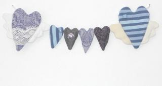 Stoffherzen Herzgirlande Herzkette Kinderzimmerdekoration Muttertagsgeschenk
