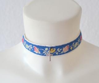 Halsband,Choker,Dirndlkette,Dirndlschmuck,Textilschmuck,Kropfbandmit Silberkreuz (Kopie id: 100108695)