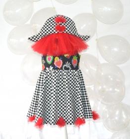 Harlekinkostüm für Mädchen, Gr. 122-128, Clownkostüm, Pierrot, Zirkus, Zirkusclown
