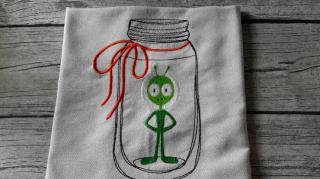 Geschirrtuch Alien im Weckglas