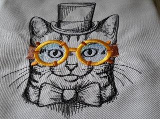 Geschirrtuch Katze, ägyptische Baumwolle bestickt