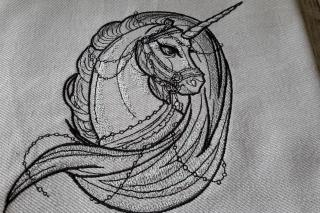 Geschirrtuch Einhorn aus ägyptischer Baumwolle bestickt