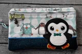 Tasche Applikation Pinguin für E-Book Reader, Kosmetik, Stifte, Diabetiker Zubehör und vieles mehr.