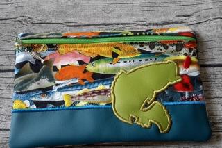 Tasche Applikation Fisch/angeln für E-Book Reader, Kosmetik, Stifte, Diabetiker Zubehör und vieles mehr.