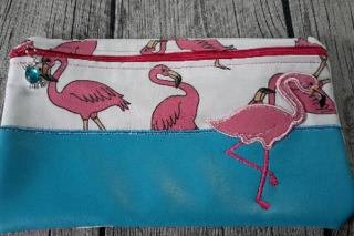 Tasche Applikation Flamingo für E-Book Reader, Kosmetik, Stifte, Diabetiker Zubehör und vieles mehr.