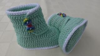 Babyschuhe-Häkel-Boots in türkis 9.5cm Art.1373