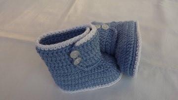 Babyschuhe-Häkel-Boots-aus 100% Baumwolle-in hellblau 10.5 cm Art.1336