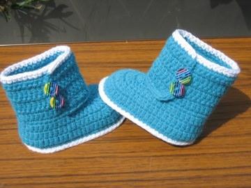Babyschuhe-Strick&Häkel-Boots-aus 50% Baumwolle, 50% Acryl in türkis 9.5cm Art.1300