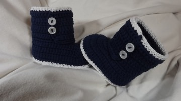 Babyschuhe-Strick&Häkel-Boot-in 100% Baumwolle-in dunkelblau 9.5cm Art.1347