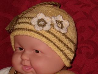 Babymütze-Wunderschöne Rollrandmütze mit Quaste und Applikation aus 100%-Baumwolle gr. 36-40 cm Art. 870