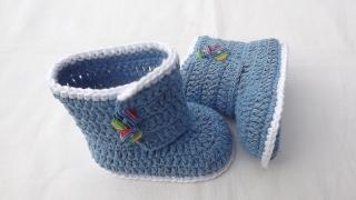 Babyschuhe-Häkel-Baby-Boots in Jeansblau9.5cm  Art.1409