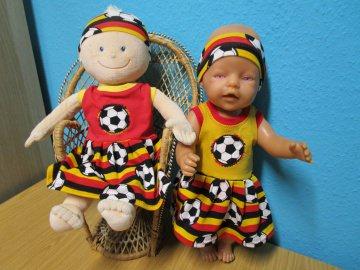 ein 2tlg. Fußballset  Kleid, Stirnband für die Puppengröße 40-45cm  Puppenkleidung - Handarbeit kaufen