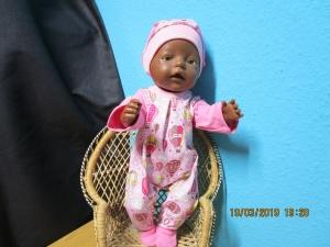 2tlg. Overall mit Füsschen und Mütze Puppengröße 40-45 cm Puppenkleidung  - Handarbeit kaufen