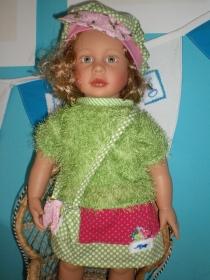5tlg. Set für Puppengröße 50 cm  - Pulli Rock Mütze Puppenkleidung - Handarbeit kaufen