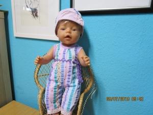 2tlg. Puppenset fürPuppengröße 40 - 45 cm  - Jumpsuits und Hut Puppenkleidung - Handarbeit kaufen