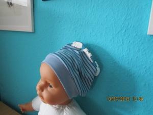 einlagige Babymütze - Beanie für Kopfumfang 39 cm  Mütze  - Handarbeit kaufen
