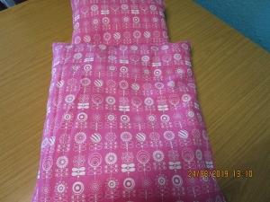 Puppenbett  Puppenbettwäsche mit Füllung in pink mit weiss - Puppenkleidung - Handarbeit kaufen