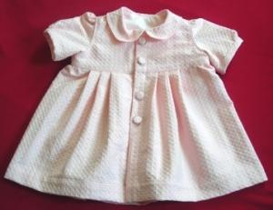Babykleid  in Größe 68-74 mit Knopfleiste vorne, festlich, rosa,  zur Taufe oder Hochzeit  - Handarbeit kaufen
