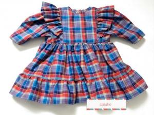 Puppenkleid bunt kariert mit Rüsche an den Armansätzen für eine Größe von 30 bis 35 cm - Handarbeit kaufen