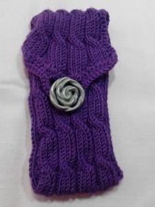 Tasche mit Zopfmuster lila handgestrickt  Universaltasche, viele Verwendungsmögichkeiten