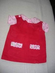 Puppenkleiderrock aus Cordstoff in rot mit einer rosa weiß gestreifter Bluse für Puppen von einer Größe 35 bis 40 cm - Handarbeit kaufen