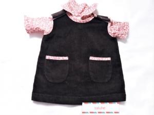 Puppenkleiderrock aus Cordstoff in dunkelbraun mit rötlich gelben geblümten Bluse für Puppengröße 40 bis 45 cm   - Handarbeit kaufen