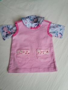 Puppenkleiderrock in rosa aus Cordstoff mit blau geblümter Bluse Größe 35 bis 40 cm