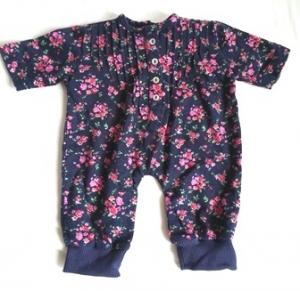 Puppenoverall dunkelblau geblümt  aus Baumwolle für Größe 50 bis 55 cm  - Handarbeit kaufen