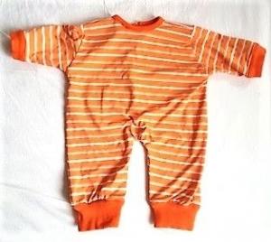 Puppenoverall orange beige geringelt für Größe 50 bis 55 cm    - Handarbeit kaufen