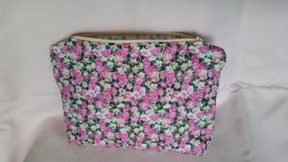 rosa gelb geblümte große Kosmetiktasche oder Ordnungshelfer für die Handtasche