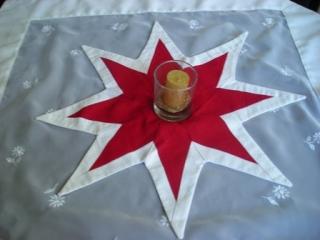 rot-weißer Weihnachtsstern in aufwendiger Patchworktechnik, Weihnachtsdeko - Sale