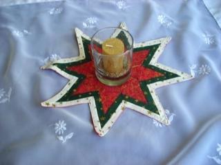 kleiner rot-grün-beiger Weihnachtsstern in aufwendiger Patchworktechnik, Weihnachtsdeko Sale