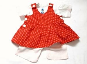 Puppenträgerrock rot mit weißer Bluse und Leggings für Puppen mit einer Größe von 35-40 cm - Handarbeit kaufen