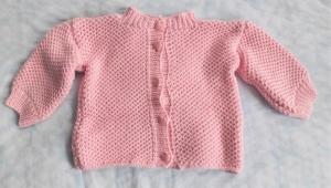 Babystrickjacke in Größe  62 - 68  in rosa handgestrickt Baumwolle  für Mädchen   - Handarbeit kaufen