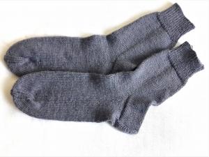 Wollsocken in Größe 38/39 handgestrickt grau für Frauen und Männer - Handarbeit kaufen