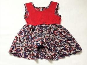 Puppenkleid für den Sommer in rot mit blauem Muster für Größe 40 - 45 cm Länge - Handarbeit kaufen