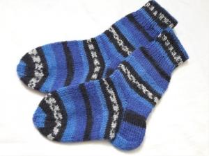 Wollsocken in Größe 22/23 handgestrickt blau schwarz grau geringelt für Mädchen und Jungen  - Handarbeit kaufen