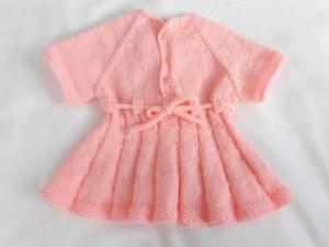 Puppenstrickkleid handgestrickt  für Größe 45 -50 cm, Geschenkidee für Puppenmamas - Handarbeit kaufen