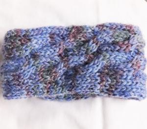 Stirnband handgestrickt in blau meliert mit Zopfmuster für Frauen und Männer   - Handarbeit kaufen