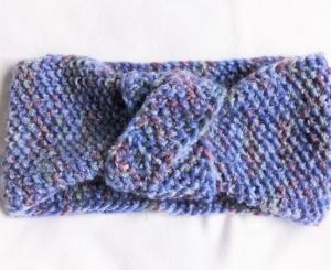 Stirnband handgestrickt in blau meliert in Perlenmuster für Frauen und Männer   - Handarbeit kaufen
