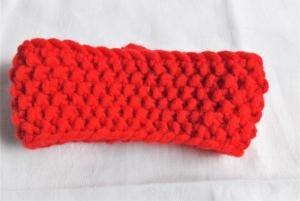 Stirnband handgestrickt in einem leuchtenden rot mit einem Perlenmuster für Mädchen ca. 3-4 Jahre - Handarbeit kaufen