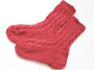 Wollsocken in Größe  26/27 handgestrickt rostbraun mit Zöpfen für Mädchen und Jungen