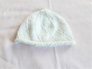 Babymütze, Strickmütze handgestrickt in weiß für Neugeborene KU 46-50 cm