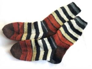 Wollsocken in Größe 34/35 handgestrickt braun beige schwarz geringelt  für Mädchen und Jungen