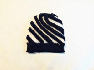 Wollmütze handgestrickt in dunkelblau mit weiß Größe M für Frauen und Männer - Handarbeit kaufen